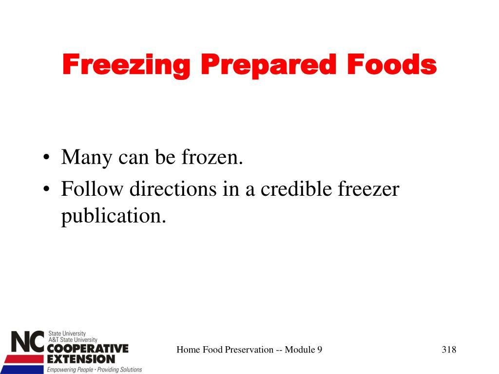 Freezing Prepared Foods