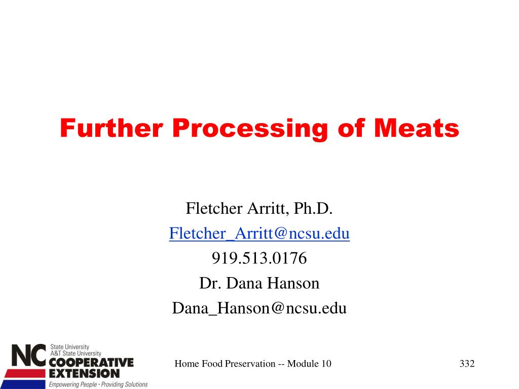 Further Processing of Meats
