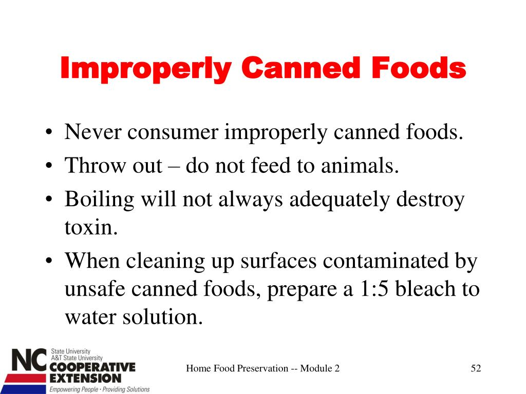 Improperly Canned Foods