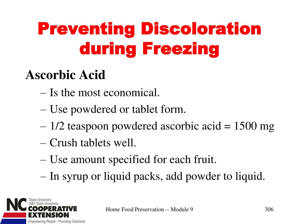Preventing Discoloration during Freezing