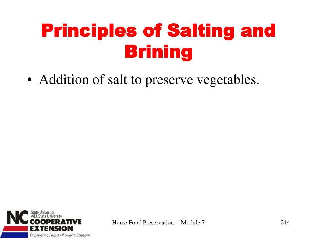 Principles of Salting and Brining