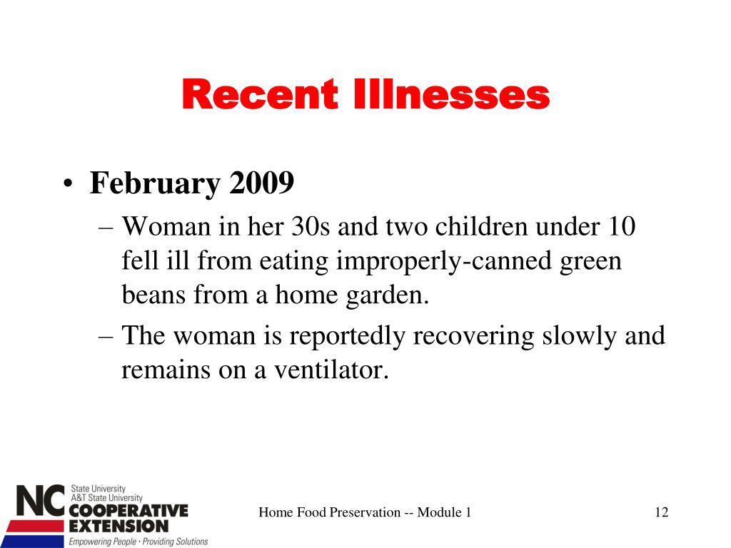 Recent Illnesses