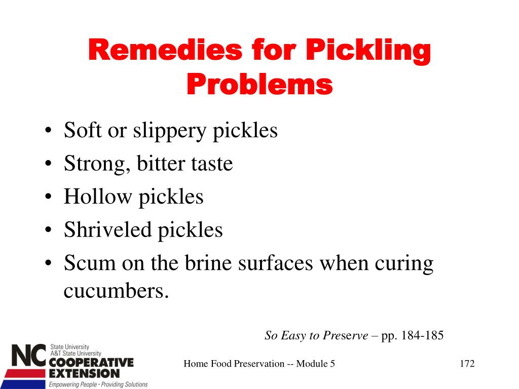 Remedies for Pickling Problems
