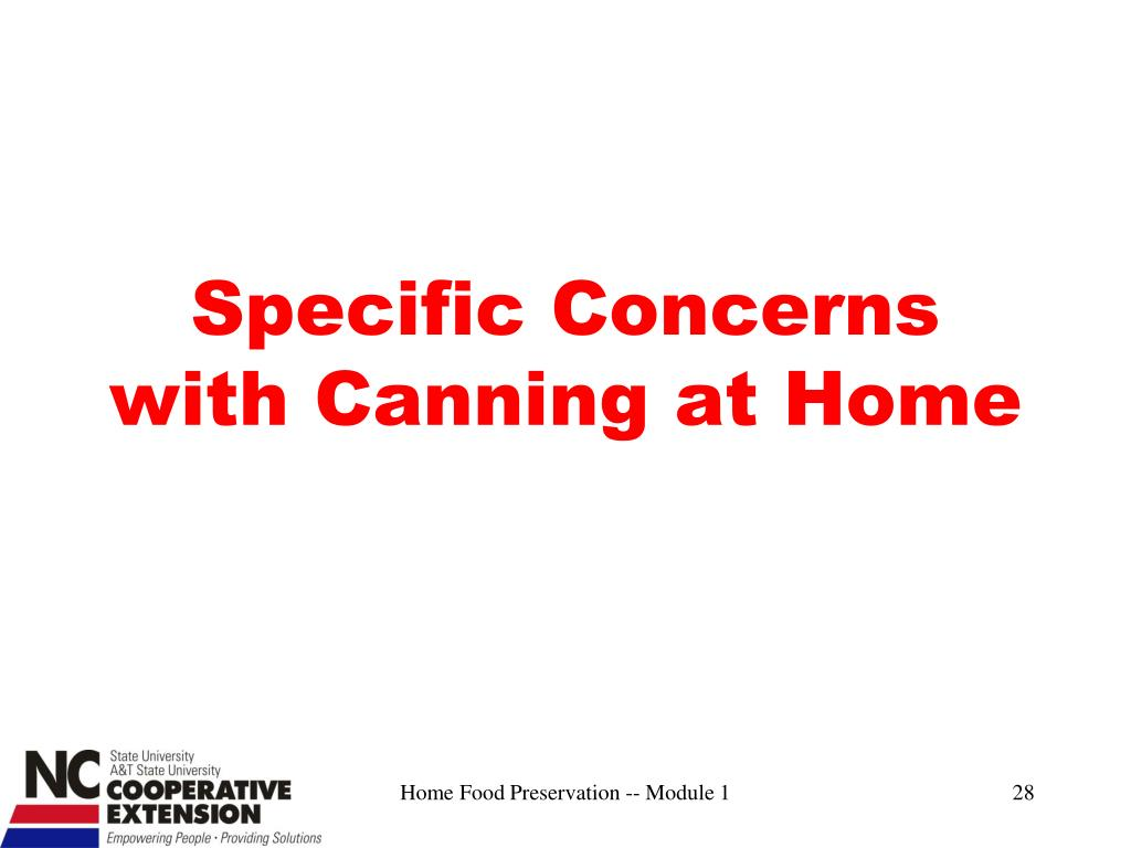 Specific Concerns with Canning at Home