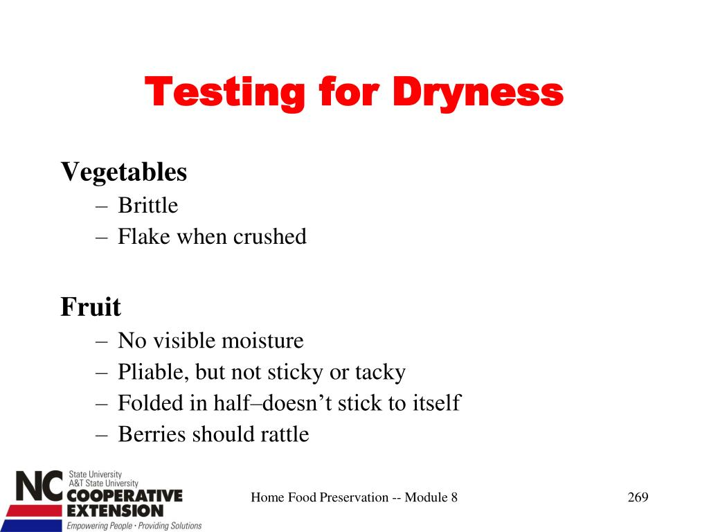Testing for Dryness
