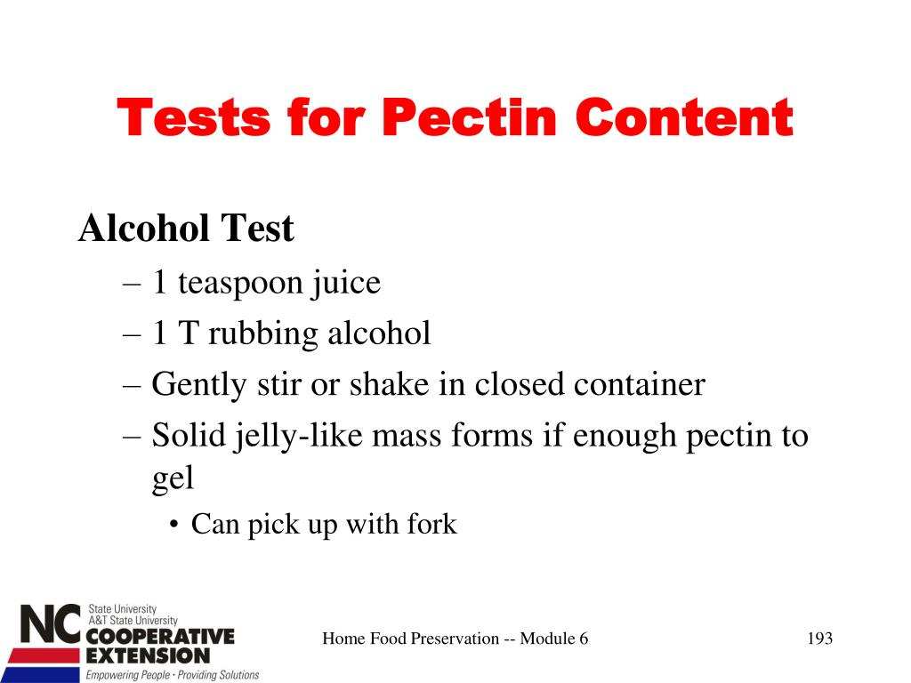 Tests for Pectin Content