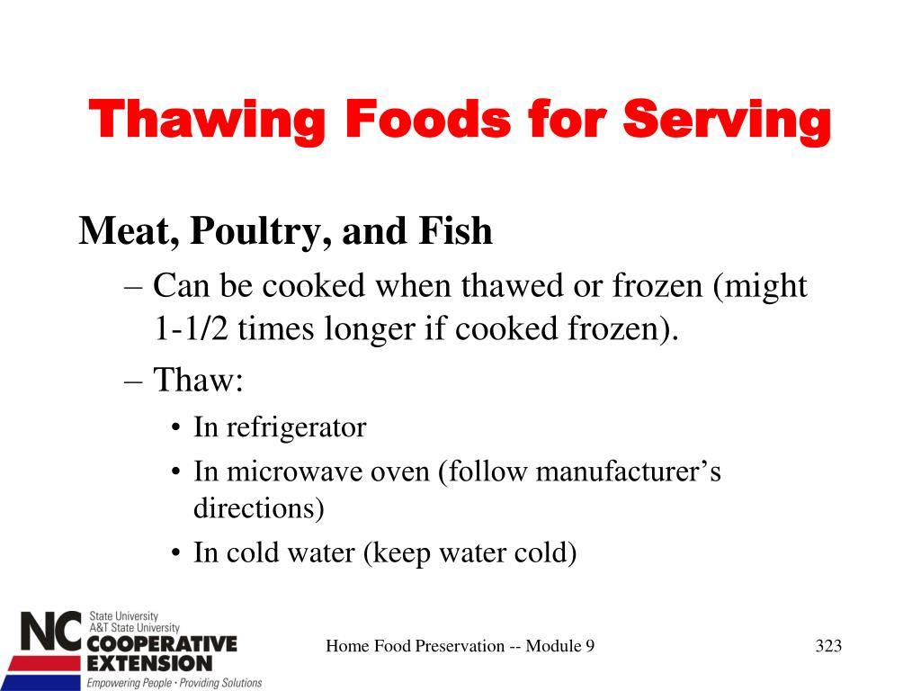 Thawing Foods for Serving