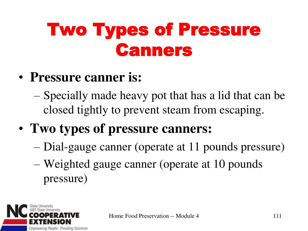 Two Types of Pressure Canners