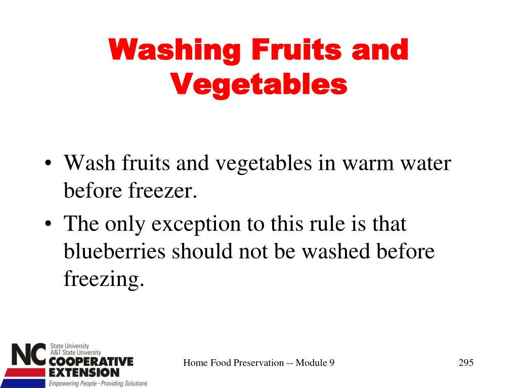 Washing Fruits and Vegetables