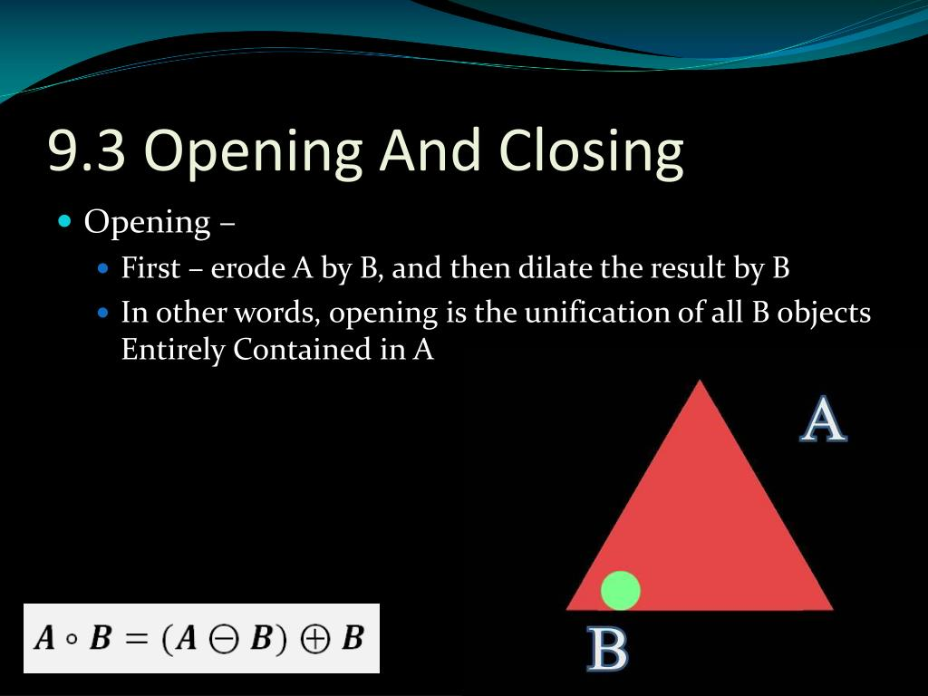 9.3 Opening And Closing