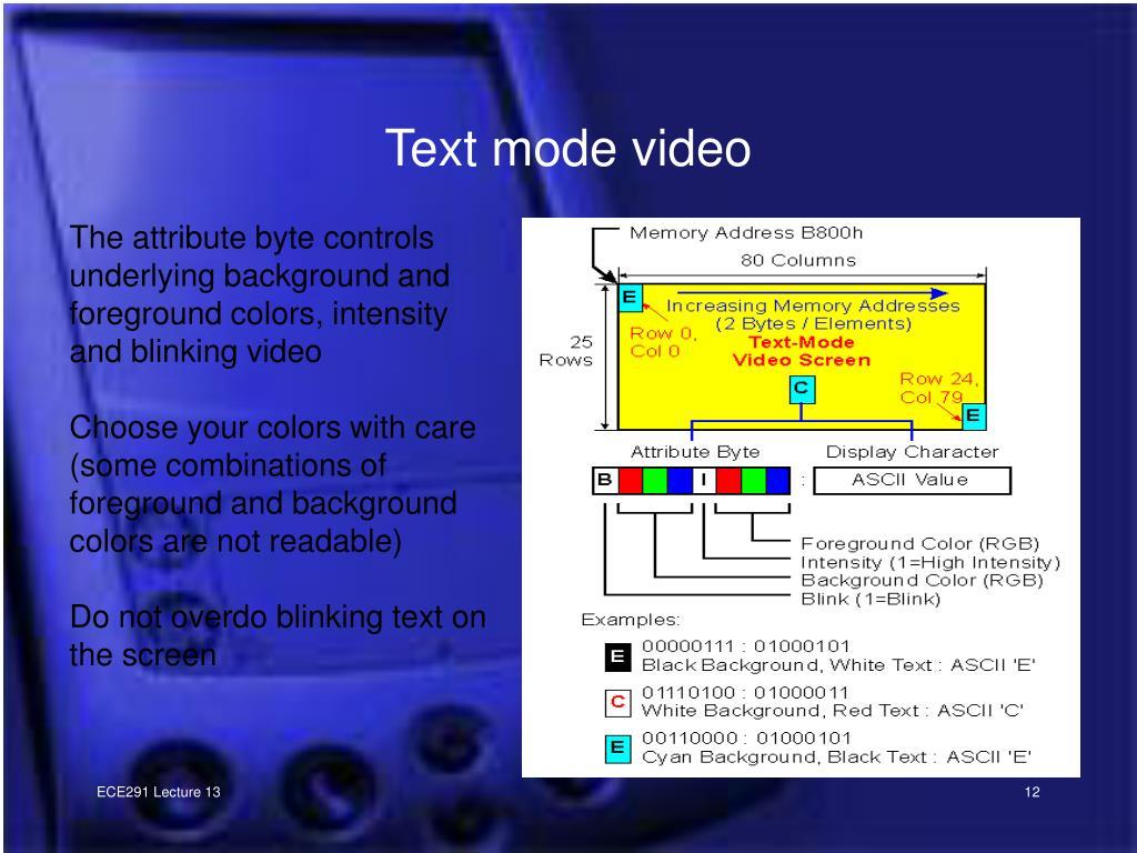 Text mode video
