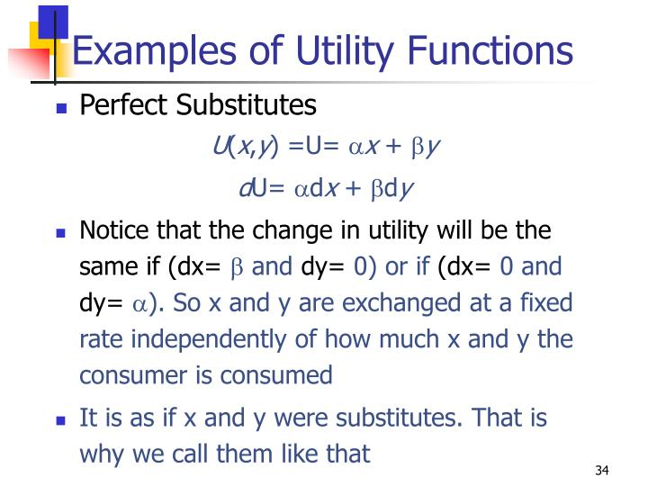Examples of Utility Functions