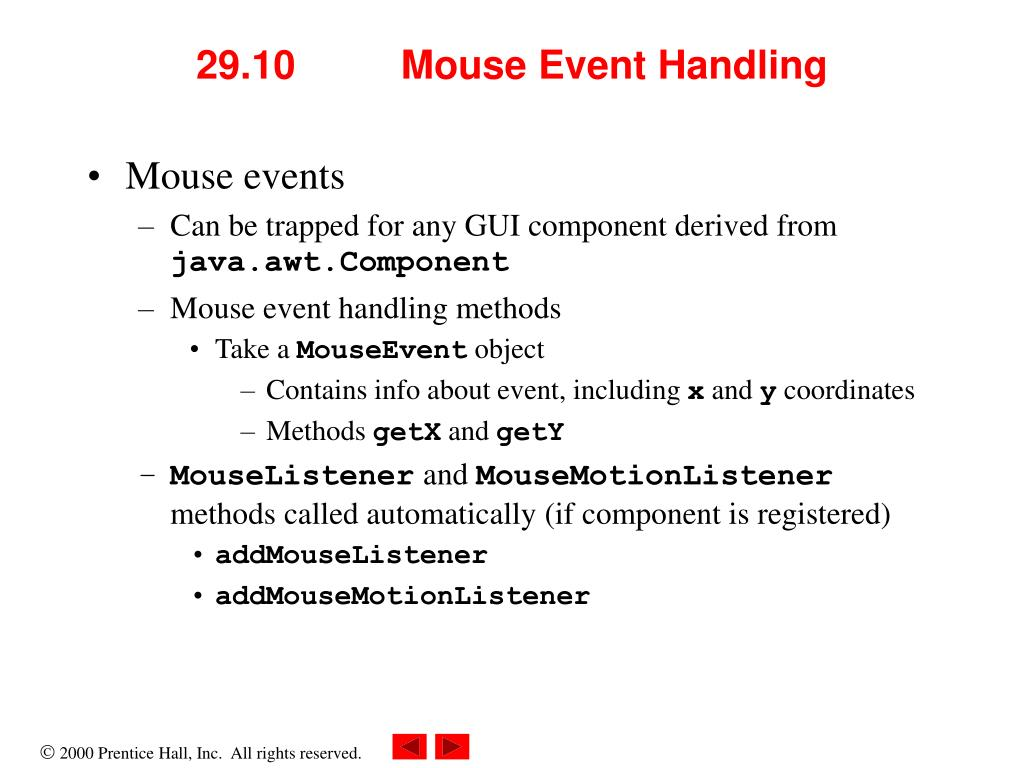 29.10 	Mouse Event Handling