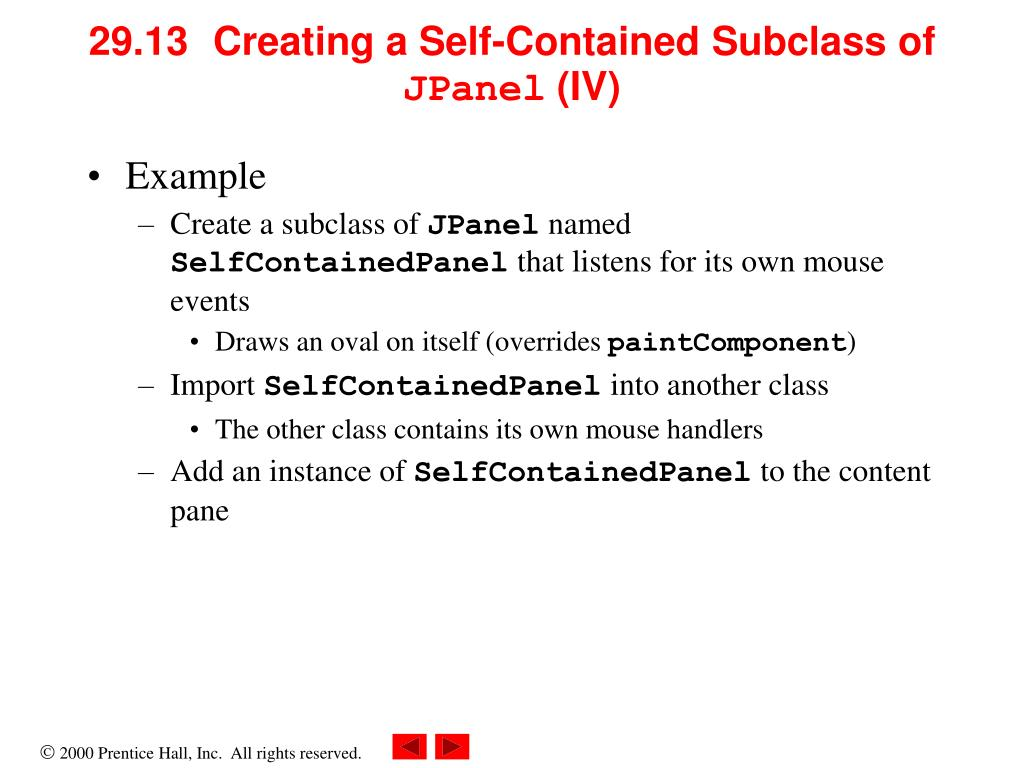 29.13	  Creating a Self-Contained Subclass of
