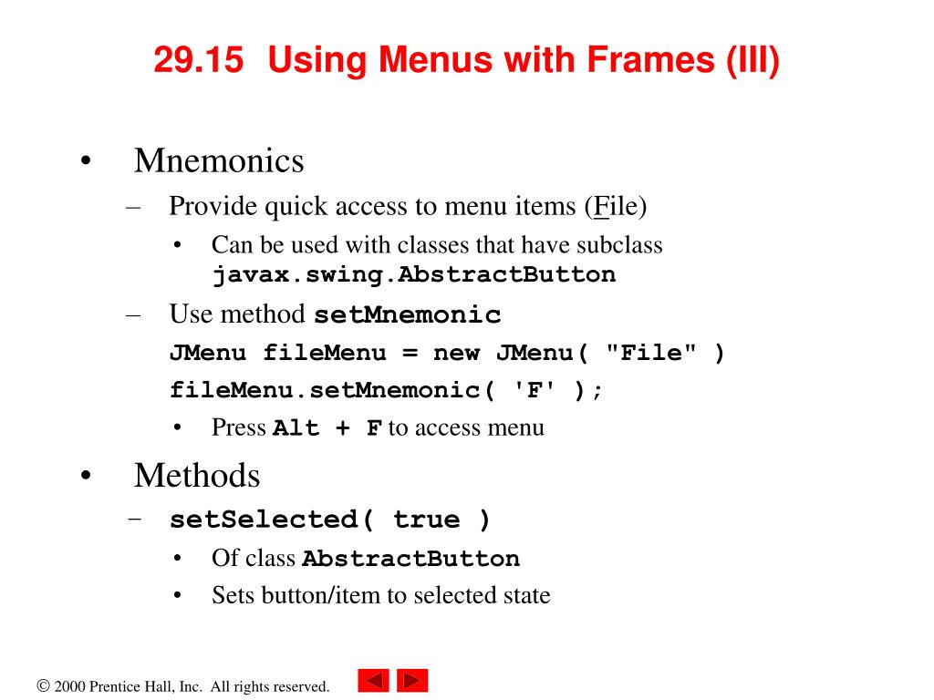29.15	  Using Menus with Frames (III)