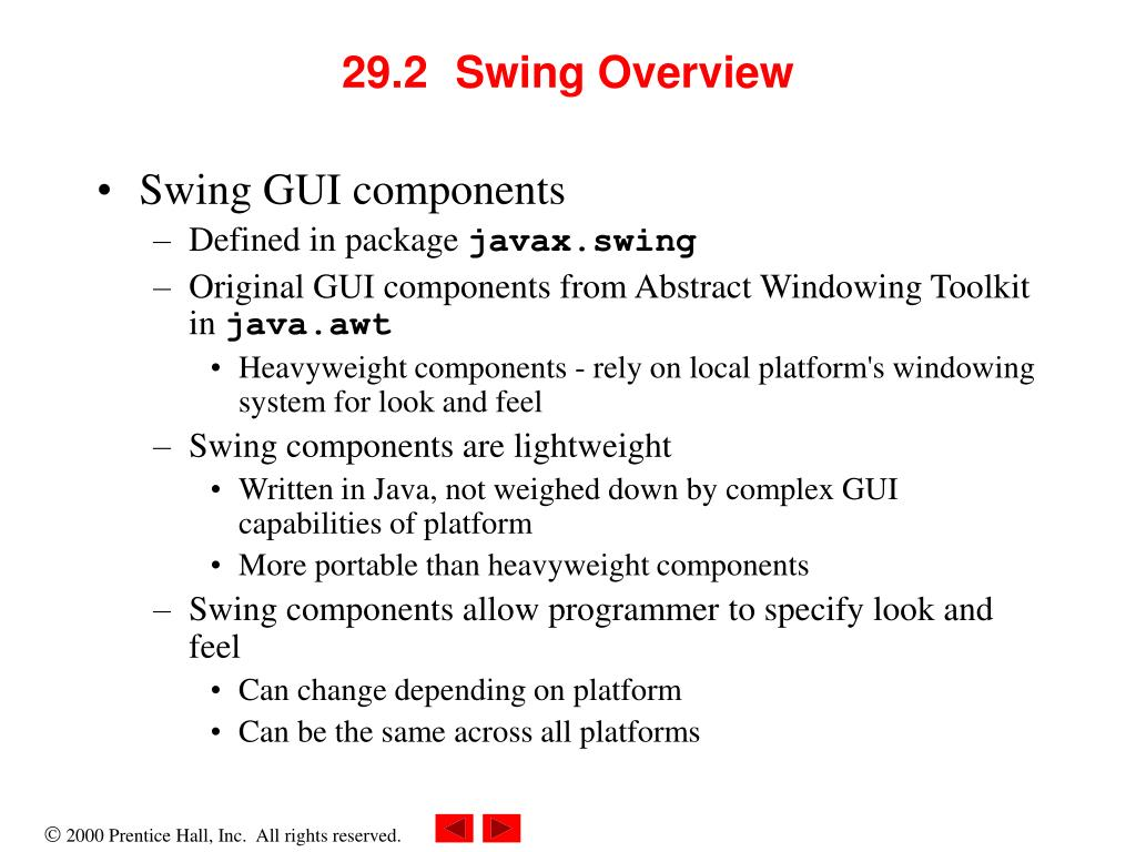 29.2	Swing Overview