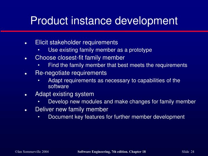 Product instance development