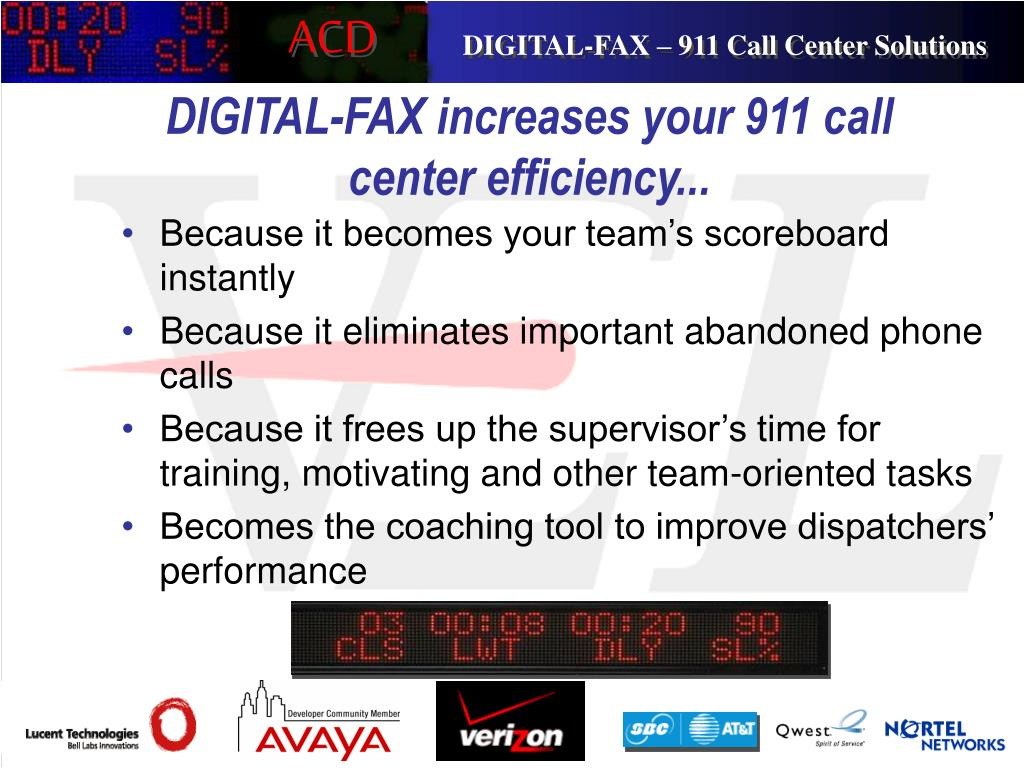 DIGITAL-FAX increases your 911 call center efficiency...