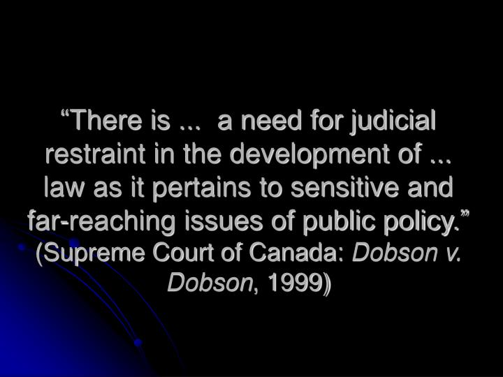 """""""There is ...  a need for judicial restraint in the development of ...  law as it pertains to sensitive and far-reaching issues of public policy."""""""