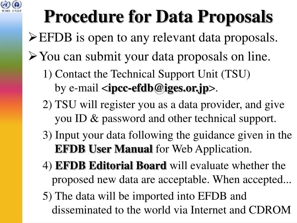 Procedure for Data Proposals