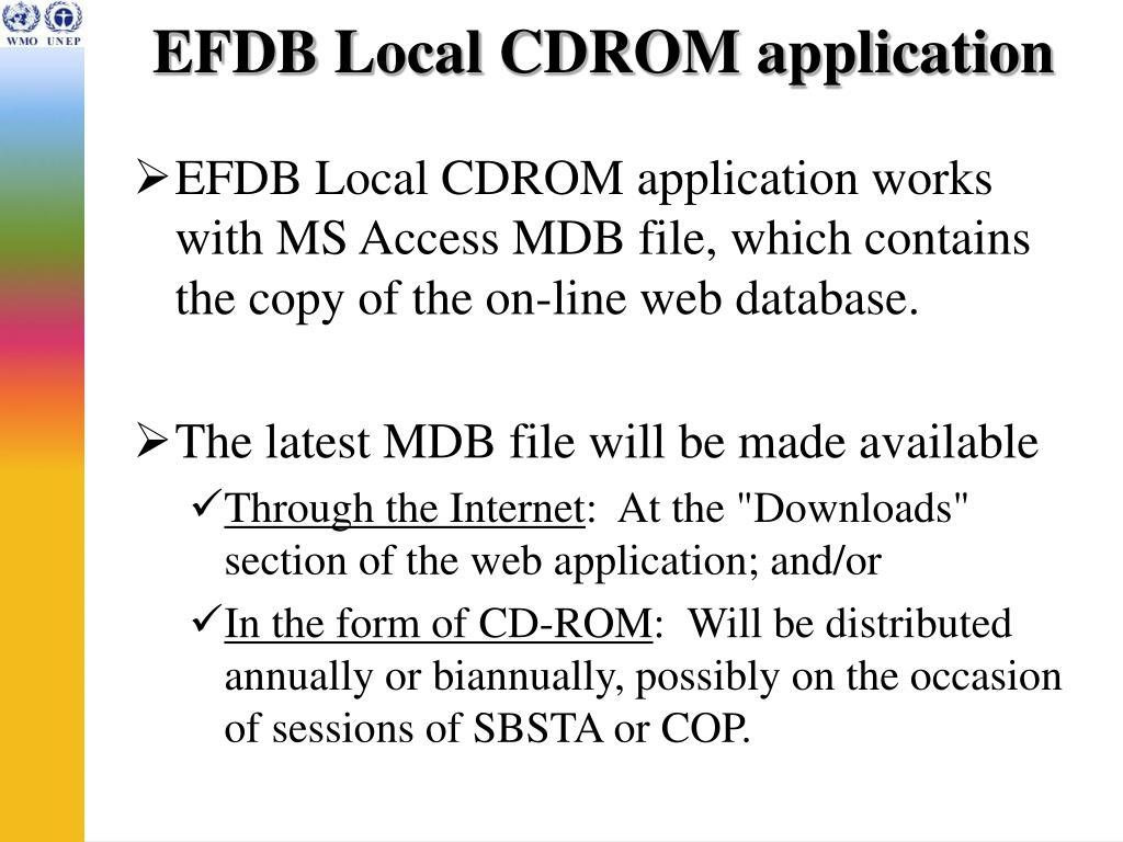 EFDB Local CDROM application