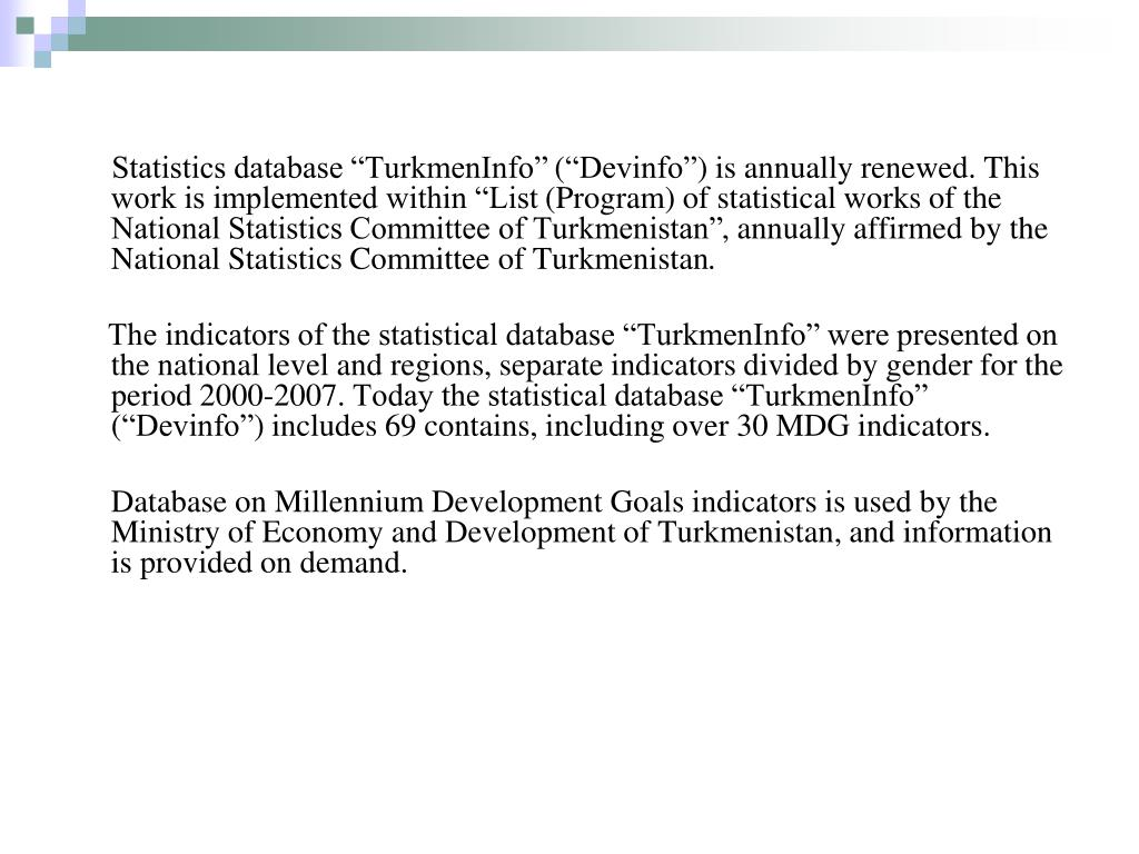 "Statistics database ""TurkmenInfo"""