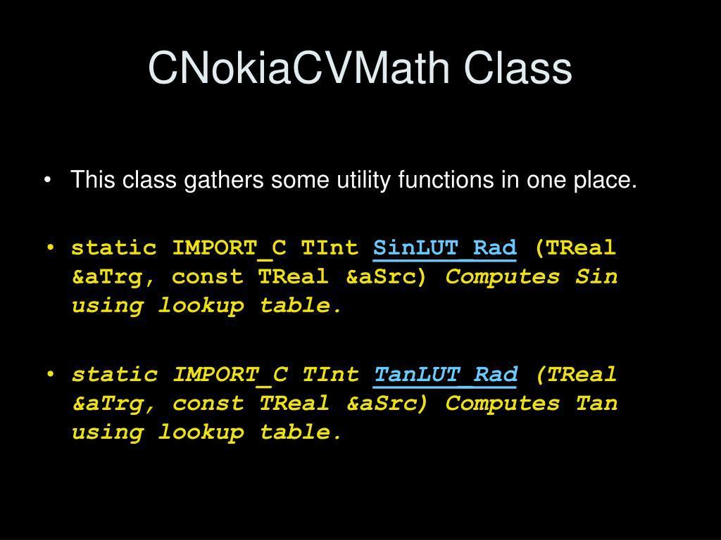 CNokiaCVMath Class