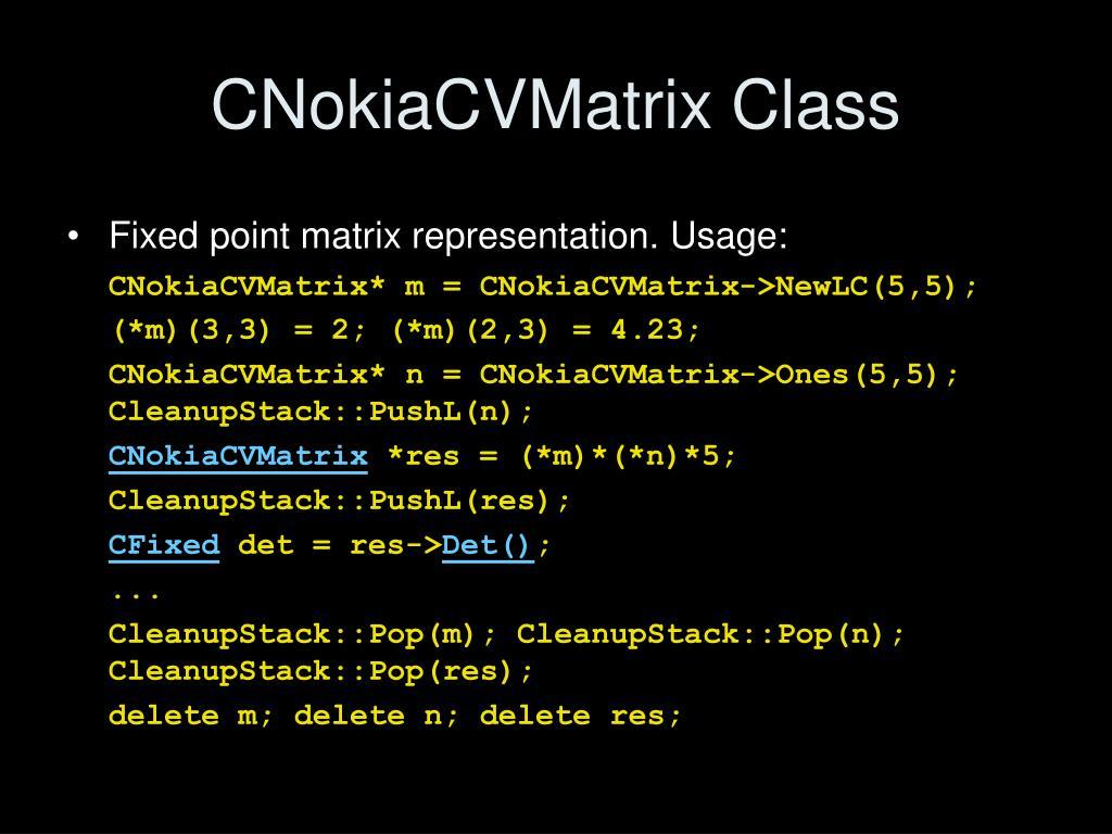 CNokiaCVMatrix Class