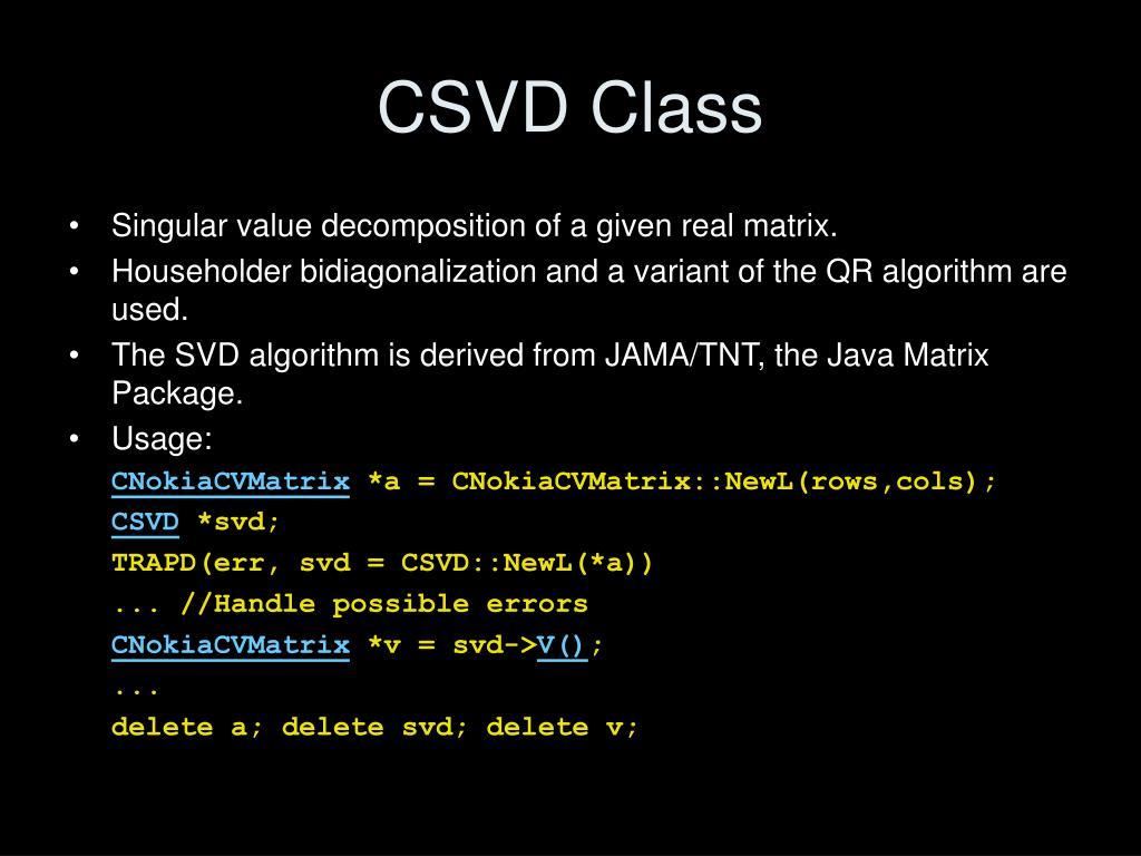CSVD Class