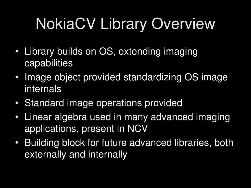 NokiaCV Library Overview