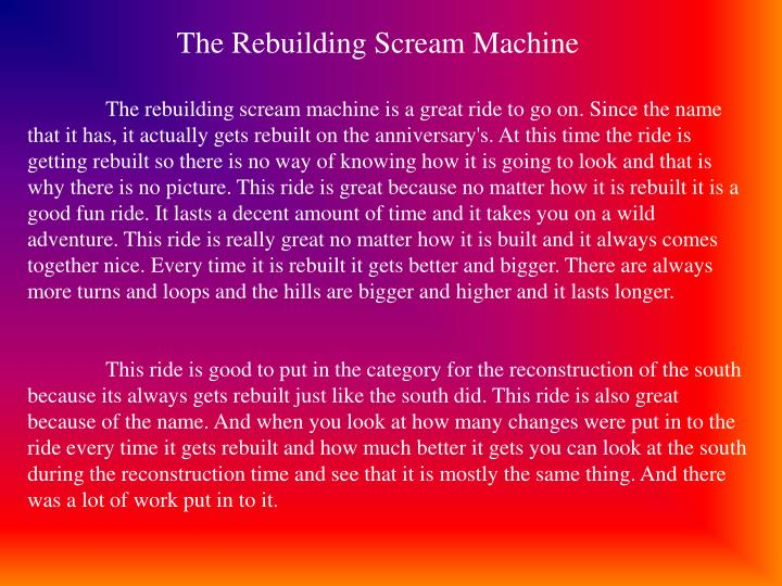 The Rebuilding Scream Machine