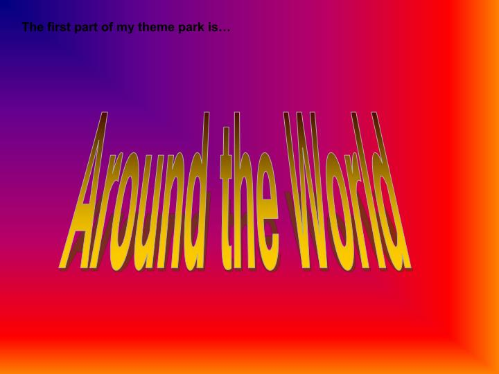 The first part of my theme park is…