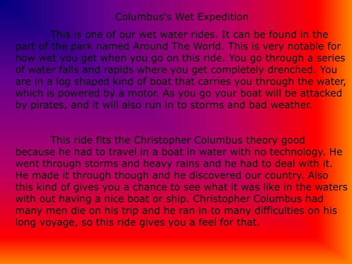 Columbus's Wet Expedition