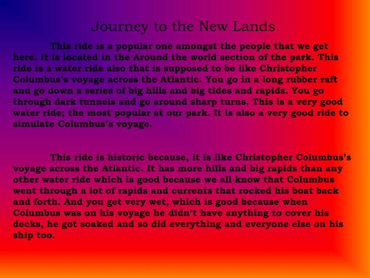 Journey to the New Lands