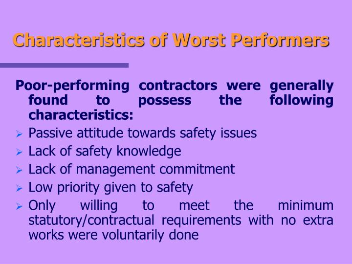 Characteristics of Worst Performers