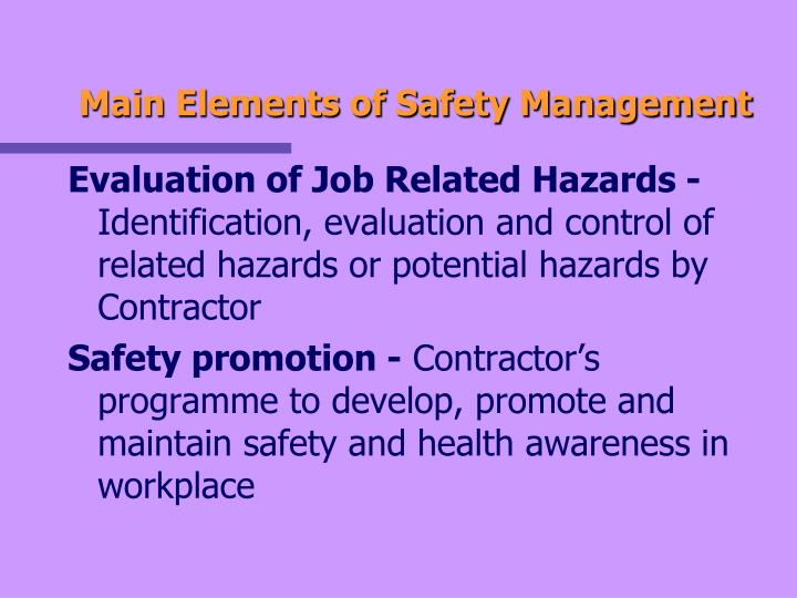 Main Elements of Safety Management