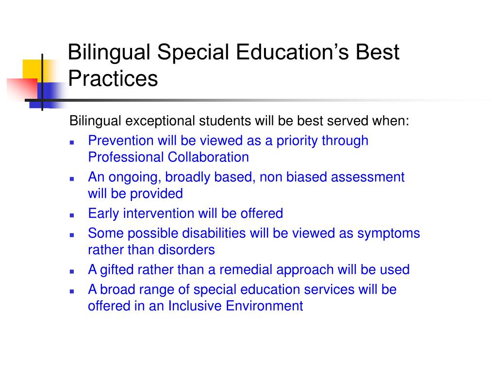 Bilingual Special Education's Best Practices