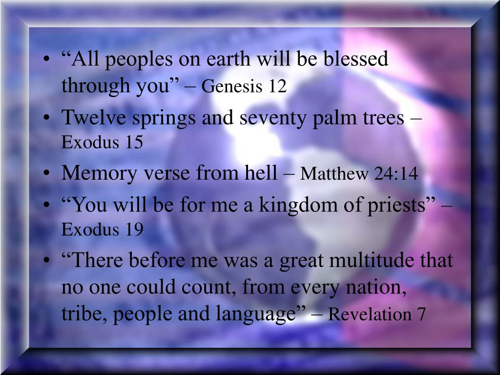 """""""All peoples on earth will be blessed through you"""" –"""