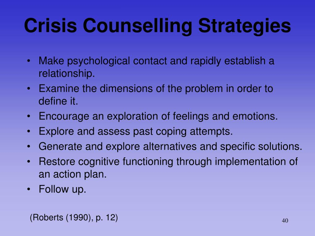 Crisis Counselling Strategies