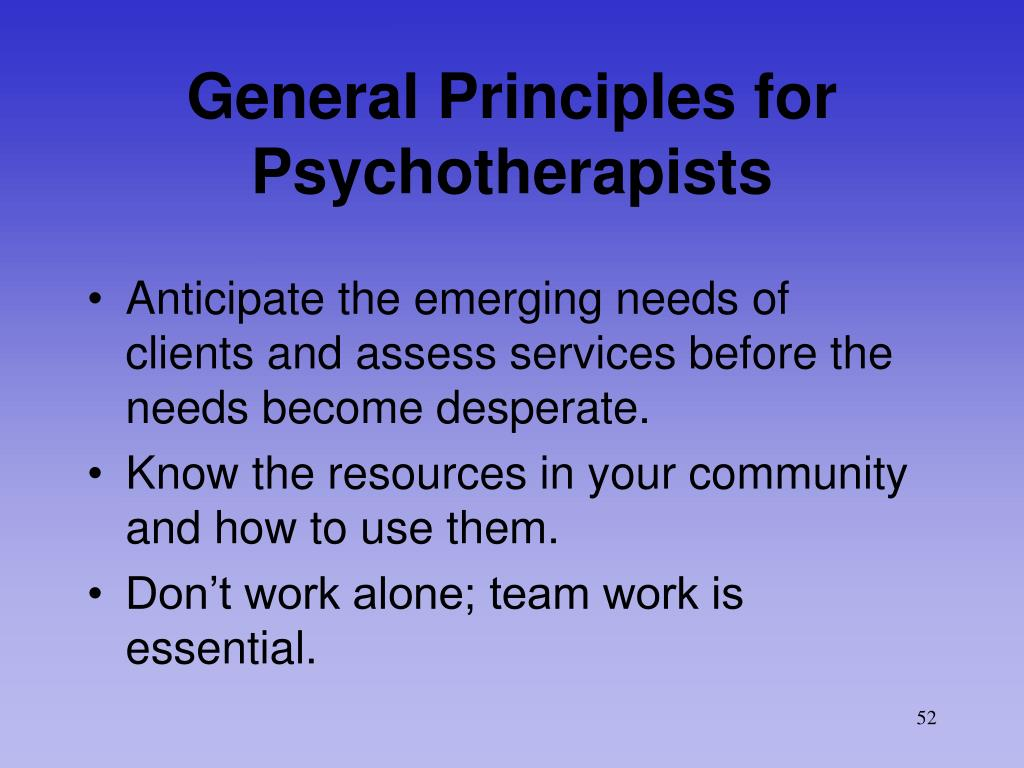General Principles for Psychotherapists
