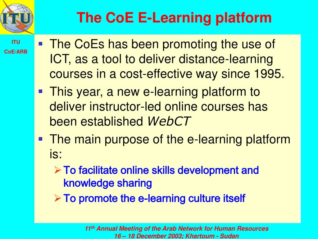 The CoE E-Learning platform