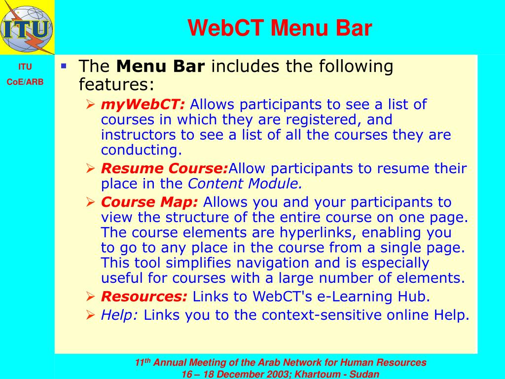 WebCT Menu Bar