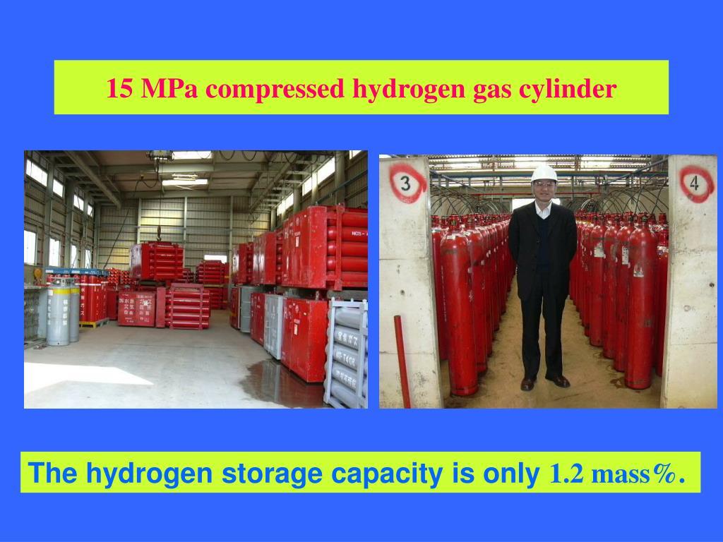 15 MPa compressed hydrogen gas cylinder
