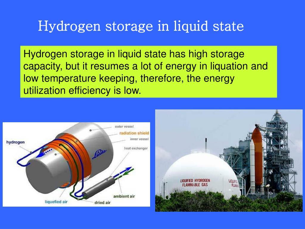 Hydrogen storage in liquid state