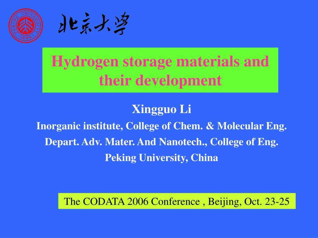 Hydrogen storage materials and their development