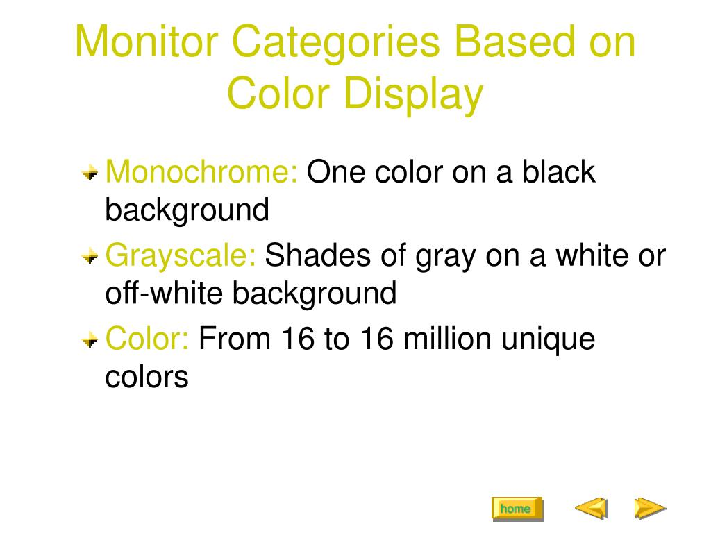 Monitor Categories Based on Color Display