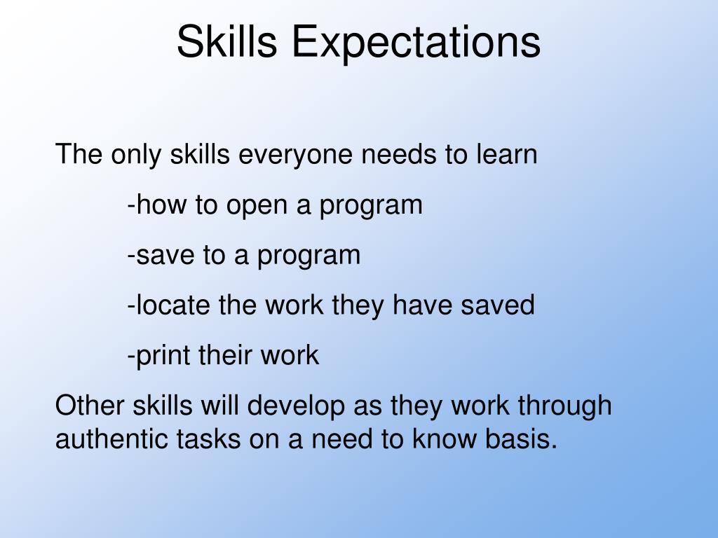 Skills Expectations
