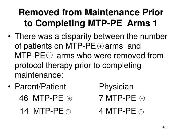 Removed from Maintenance Prior to Completing MTP-PE  Arms 1