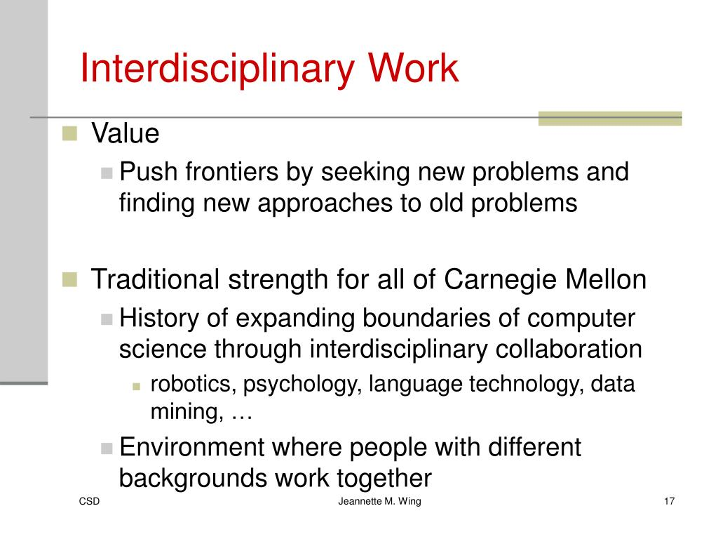 Interdisciplinary Work