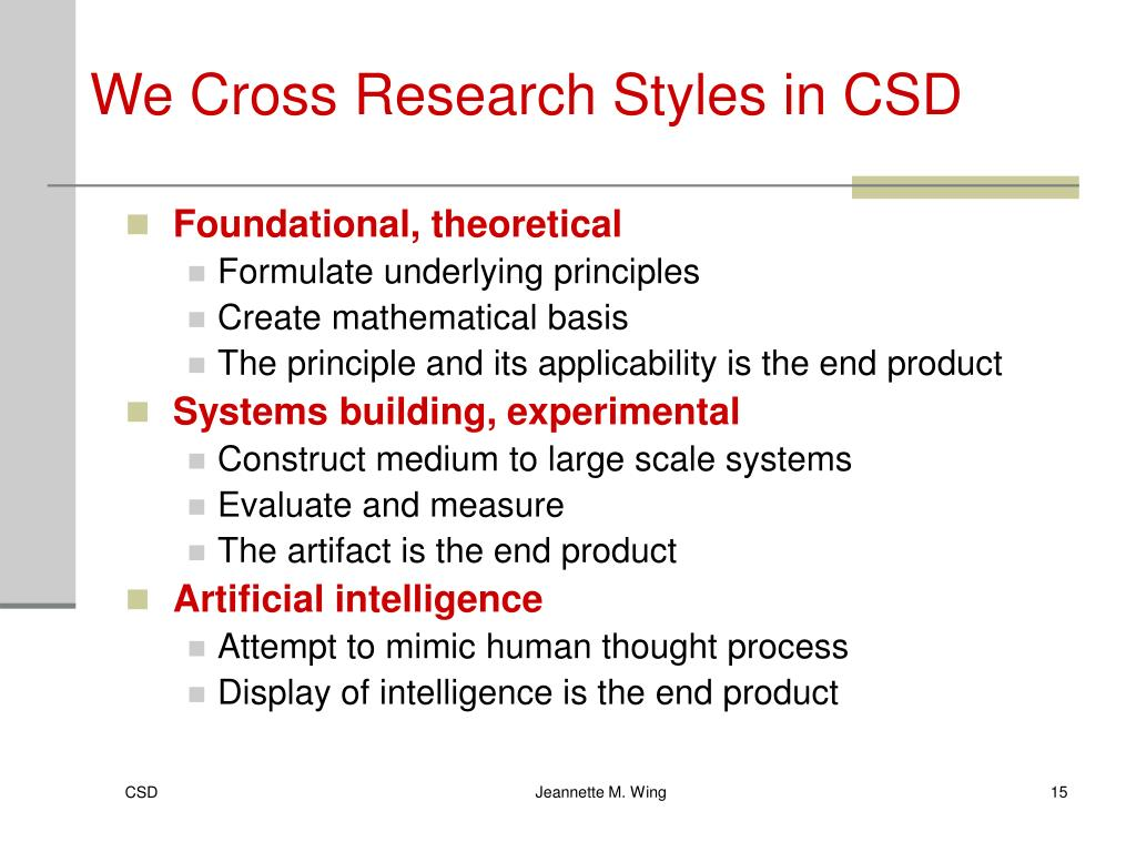 We Cross Research Styles in CSD
